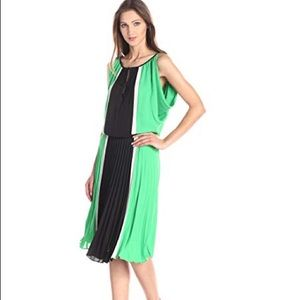 BCBG Max Azria color blocked pleated dress